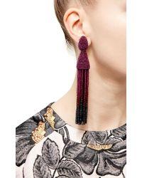 Oscar de la Renta | Purple Long Tassel Earrings | Lyst