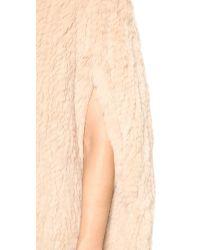 H Brand Natural Stella Hand Knit Rabbit Fur Cape - Camel