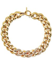 Michael Kors | Metallic Gold-tone Pavé Heavy-link Statement Necklace | Lyst