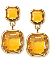 Michael Kors | Metallic Gold-Tone Stainless Steel Citrine Stone Double Drop Earrings | Lyst