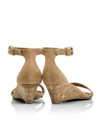 Tory Burch Natural Savannah Suede Wedge Sandal