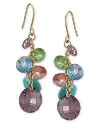Carolee | Metallic Gold-tone Rainbow Crystal Cluster Drop Earrings | Lyst