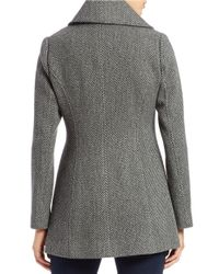 Jessica Simpson Gray Double-breasted Wool-blend Coat