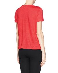 Tory Burch Red 'katama' Floral Lace Linen Jersey T-shirt