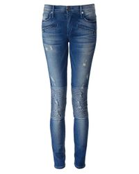True Religion Blue Halle Biker Jeans