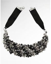 Nina Black Glass Pearl and Crystal Ribbon Necklace