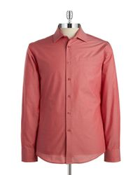 Vince Camuto | Red Poplin Sportshirt for Men | Lyst