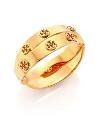 Tory Burch | Metallic Studded Double-wrap Logo Bracelet/goldtone | Lyst