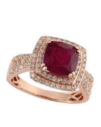 Effy - Red 14kt Rose Gold Ruby Diamond Ring - Lyst