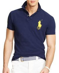 Ralph Lauren - Blue Polo Custom Fit Big Pony Mesh Polo Shirt - Slim Fit for Men - Lyst