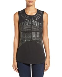 NIC+ZOE | Black 'simply Studded' Top | Lyst