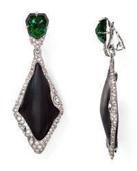 Alexis Bittar Black Lucite Fancy Dangling Clip On Earrings