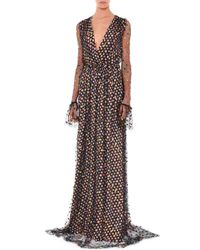 Marco De Vincenzo - Brown Circle-embellished Tulle Long-sleeve Gown - Lyst