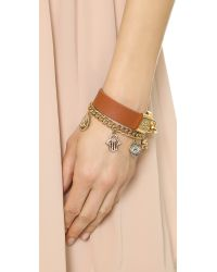 Tory Burch Brown Lock Closure Leather Bracelet Luggageshiny Gold