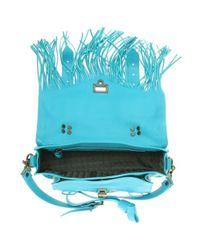 Proenza Schouler Blue PS1 Tiny Fringed Shoulder Bag