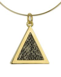 Roman Luxe | Black 14k Gold-plated Python-embossed Triangle Pendant Necklace | Lyst