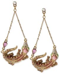 Betsey Johnson | Metallic Gold-Tone Alligator Chandelier Earrings | Lyst