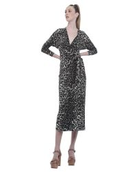 Norma Kamali | Gray Leopard-Print Maxi Wrap Dress | Lyst