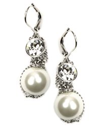 Givenchy | Metallic Silver-tone Small Glass Pearl And Crystal Earrings | Lyst
