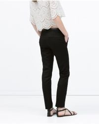 Zara | Black Double Cloth Trousers | Lyst