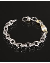 Judith Ripka   Metallic Pearl And Texture Silver Chain Link Bracelet   Lyst