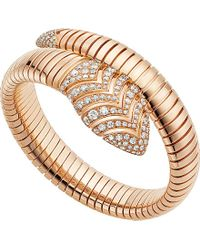 BVLGARI | Serpenti Tubogas 18kt Pink-gold And Diamond Bracelet | Lyst