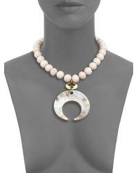 Nest - White Bone & Horn Beaded Crescent Pendant Necklace - Lyst