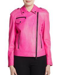 DKNY Pink Asymmetrical Leather Moto Jacket