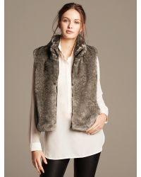 a45082ddebd Lyst - Banana Republic Faux-Fur Vest in Brown