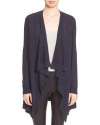 VINCE | Blue Drape Front Lightweight Wool Cardigan | Lyst
