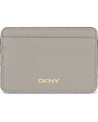 DKNY - Gray Chelsea Leather Card Holder - Lyst