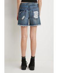 Forever 21 | Blue Distressed Denim Shorts | Lyst
