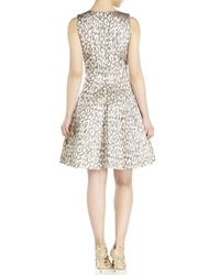 Vince Camuto Metallic Jacquard Fit Amp Flare Dress Lyst