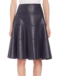 Rebecca Taylor - Blue Faux Leather Flounce Skirt - Lyst