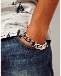ASOS - Metallic Heavy Chain Bracelet for Men - Lyst