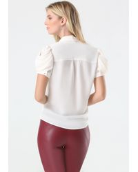 Bebe - White Cowl Sleeve Blouse - Lyst