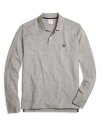 Brooks Brothers | Gray Original Fit Long-sleeve Heathered Polo Shirt for Men | Lyst