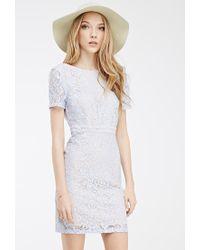 Forever 21 - Blue Floral Lace Scoop-back Dress - Lyst