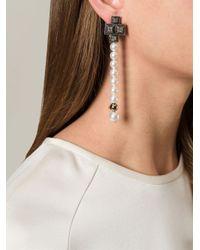 Lanvin - White Pearl String Earrings - Lyst