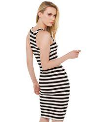 AKIRA - Hug Tight Ribbed Black Ivory Bodycon Dress - Lyst