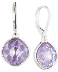Nine West | Metallic Silver-tone Purple Glass Stone Teardrop Earrings | Lyst