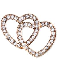 Jones New York | Metallic Gold-tone Crystal Double Heart Pin | Lyst