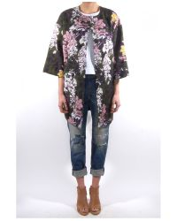 MSGM - Green Floral 3/4 Sleeve Coat - Lyst