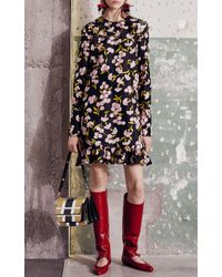 Marni Black Sistowbell Floral Ruffle Dress