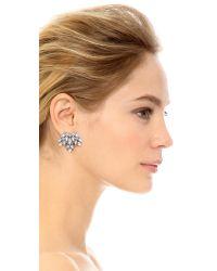 Sam Edelman | Metallic Crystal Fan Earrings - Clear | Lyst