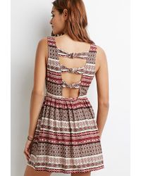 Forever 21 - Brown Print Babydoll Dress - Lyst