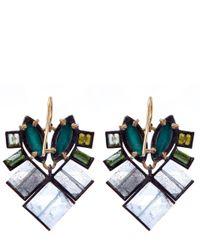 Nak Armstrong - Green Gemstone Mosaic Drop Earrings - Lyst