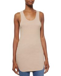 Helmut Lang | Natural Cotton Racerback Shirttail Tank Top | Lyst
