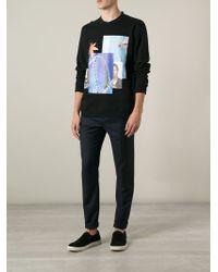 Raf Simons Black Photo-printed Cotton Sweatshirt for men