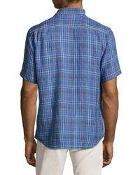 Neiman Marcus Blue Regular-fit Linen Windowpane-check Sport Shirt for men